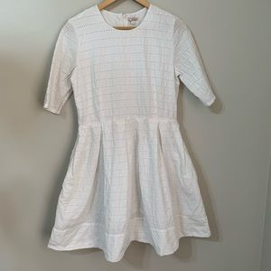 White Gap Eyelet Fit & Flare Dress Size 10